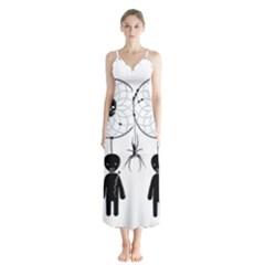 Voodoo Dream Catcher  Button Up Chiffon Maxi Dress