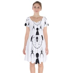 Voodoo Dream Catcher  Short Sleeve Bardot Dress