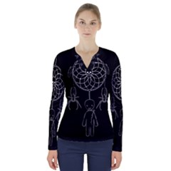 Voodoo Dream Catcher  V Neck Long Sleeve Top