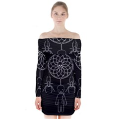 Voodoo Dream Catcher  Long Sleeve Off Shoulder Dress