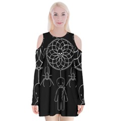 Voodoo Dream Catcher  Velvet Long Sleeve Shoulder Cutout Dress