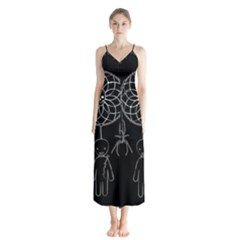 Voodoo Dream Catcher  Button Up Chiffon Maxi Dress