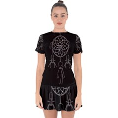 Voodoo Dream Catcher  Drop Hem Mini Chiffon Dress
