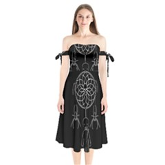 Voodoo Dream Catcher  Shoulder Tie Bardot Midi Dress