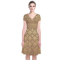 Christmas Kraft And Gold 0012 Group 4 Short Sleeve Front Wrap Dress