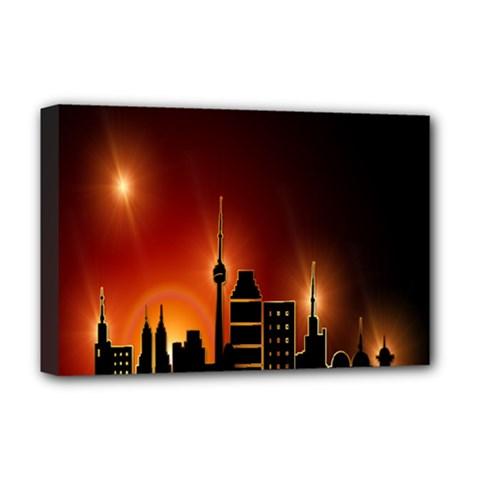 Gold Golden Skyline Skyscraper Deluxe Canvas 18  X 12