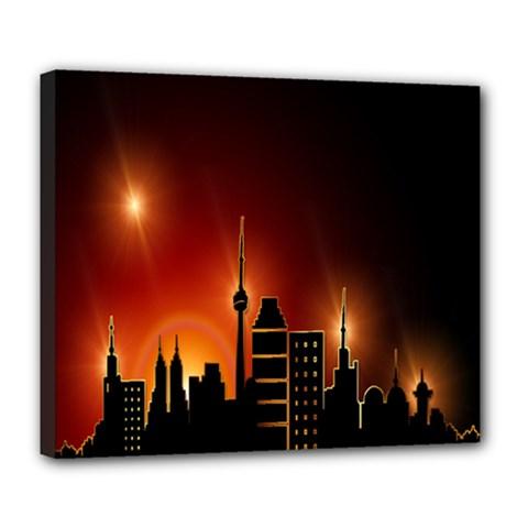 Gold Golden Skyline Skyscraper Deluxe Canvas 24  X 20