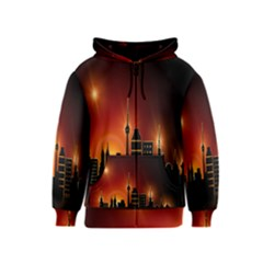 Gold Golden Skyline Skyscraper Kids  Zipper Hoodie