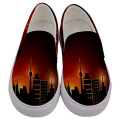 Gold Golden Skyline Skyscraper Men s Canvas Slip Ons