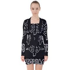 Zodiac Killer  V Neck Bodycon Long Sleeve Dress