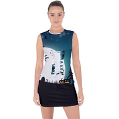 Halloween Landscape Lace Up Front Bodycon Dress