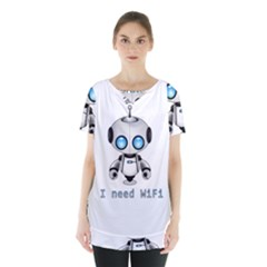 Cute Robot Skirt Hem Sports Top