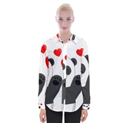 Cute Panda Womens Long Sleeve Shirt