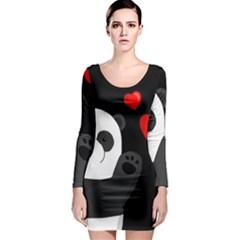 Cute Panda Long Sleeve Bodycon Dress