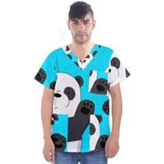 Cute Pandas Men s V Neck Scrub Top