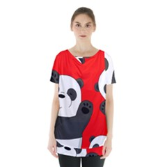 Cute Pandas Skirt Hem Sports Top