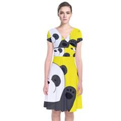 Cute Pandas Short Sleeve Front Wrap Dress