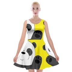 Cute Pandas Velvet Skater Dress