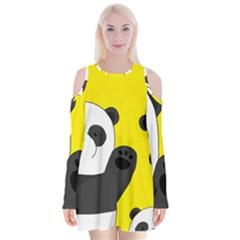 Cute Pandas Velvet Long Sleeve Shoulder Cutout Dress