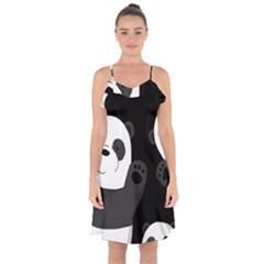 Cute Pandas Ruffle Detail Chiffon Dress