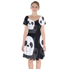 Cute Pandas Short Sleeve Bardot Dress