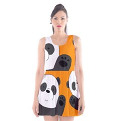 Cute Pandas Scoop Neck Skater Dress
