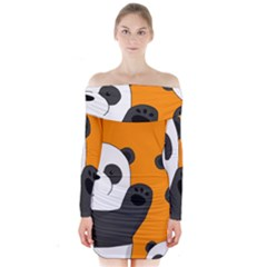 Cute Pandas Long Sleeve Off Shoulder Dress