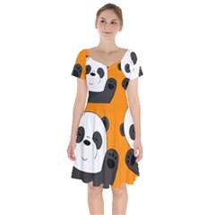 Cute Pandas Short Sleeve Bardot Dress