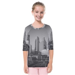 Minneapolis Minnesota Skyline Kids  Quarter Sleeve Raglan Tee