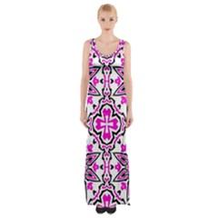 Oriental Pattern Maxi Thigh Split Dress