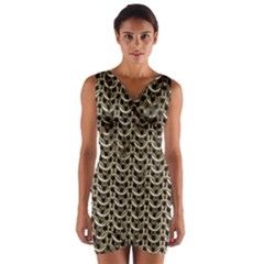 Sparkling Metal Chains 01a Wrap Front Bodycon Dress