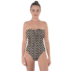 Sparkling Metal Chains 01a Tie Back One Piece Swimsuit