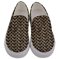 Sparkling Metal Chains 01a Men s Canvas Slip Ons