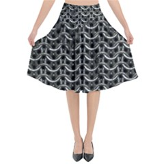 Sparkling Metal Chains 01b Flared Midi Skirt