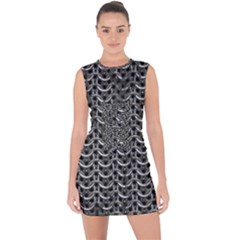 Sparkling Metal Chains 01b Lace Up Front Bodycon Dress