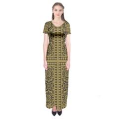 Seamless Pattern Design Texture Short Sleeve Maxi Dress