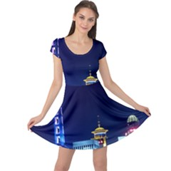Shanghai Oriental Pearl Tv Tower Cap Sleeve Dress