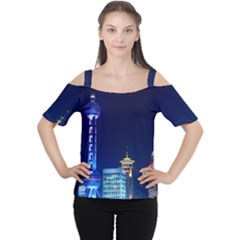 Shanghai Oriental Pearl Tv Tower Cutout Shoulder Tee