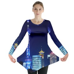Shanghai Oriental Pearl Tv Tower Long Sleeve Tunic