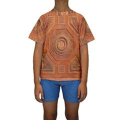 Symbolism Paneling Oriental Ornament Pattern Kids  Short Sleeve Swimwear
