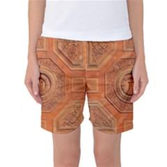 Symbolism Paneling Oriental Ornament Pattern Women s Basketball Shorts