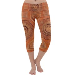 Symbolism Paneling Oriental Ornament Pattern Capri Yoga Leggings