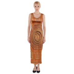 Symbolism Paneling Oriental Ornament Pattern Fitted Maxi Dress