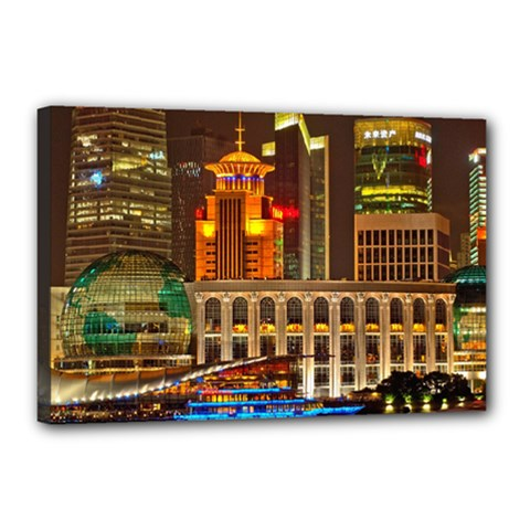 Shanghai Skyline Architecture Canvas 18  X 12