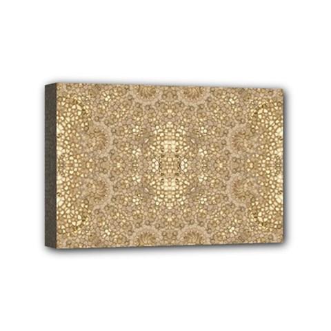 Ornate Golden Baroque Design Mini Canvas 6  X 4