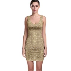Ornate Golden Baroque Design Bodycon Dress
