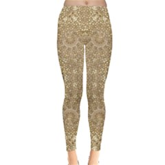 Ornate Golden Baroque Design Leggings