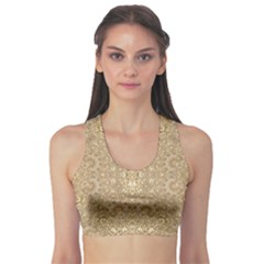 Ornate Golden Baroque Design Sports Bra