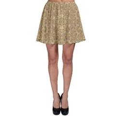 Ornate Golden Baroque Design Skater Skirt