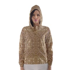 Ornate Golden Baroque Design Hooded Wind Breaker (women)
